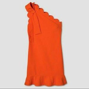 🆕 Victoria Beckham One-Shoulder Orange MiniDess